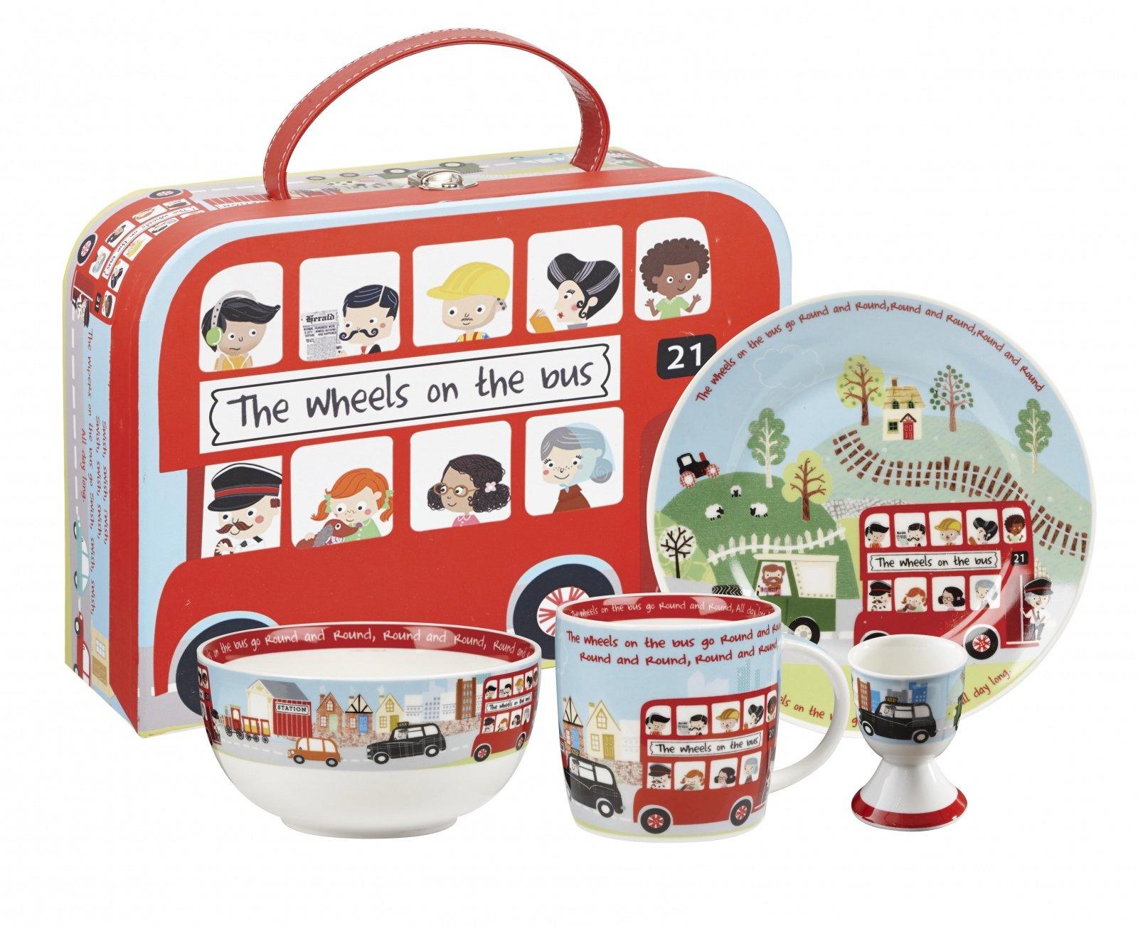 """Набор 4 предмета в коробке Churchill. Тарелка 17,5 см, кружка 284 мл, миска 13 см, подставка для яйца 6,5 см, """"Автобус"""" от Little Rhymes"""