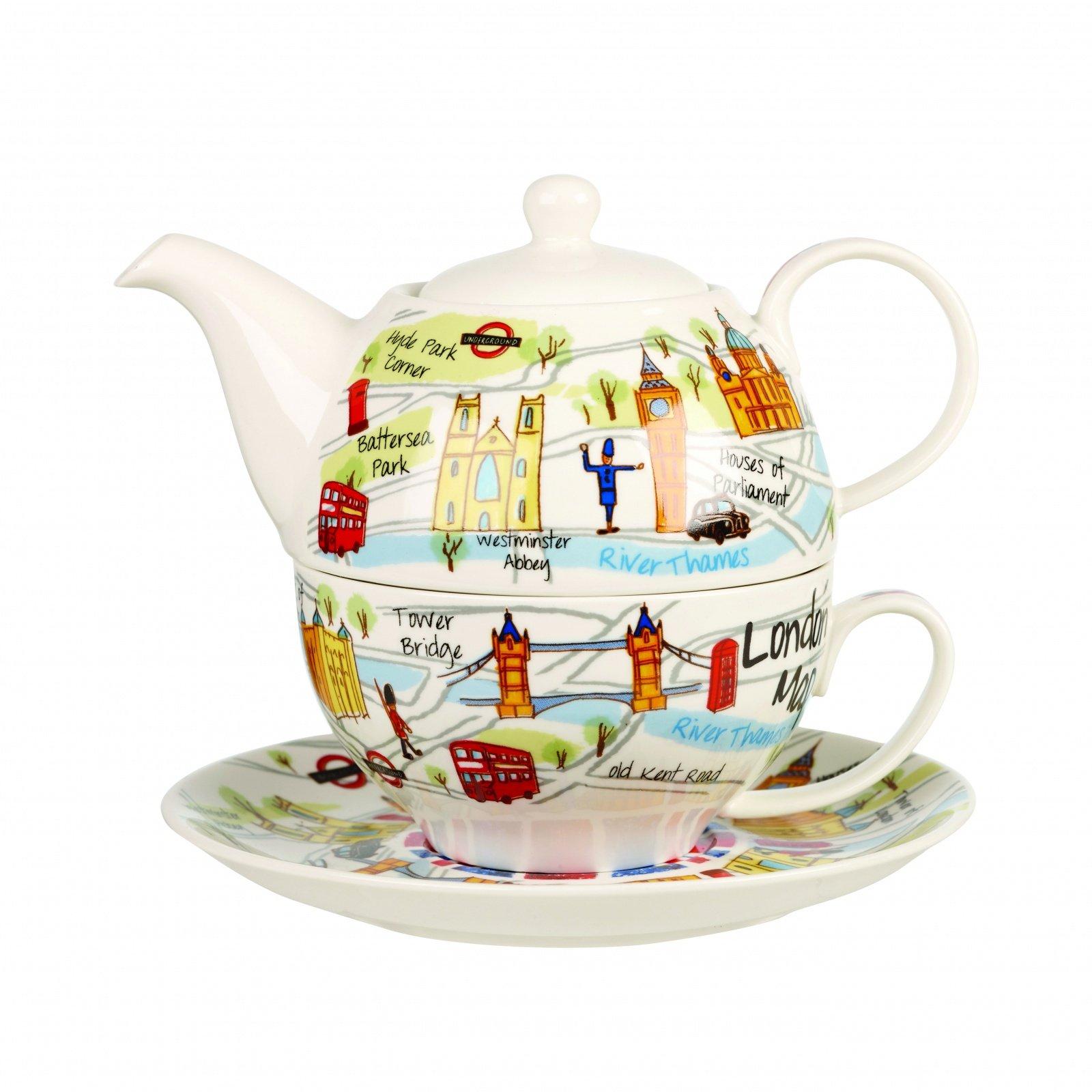 Набор Churchill: чайник 400 мл, чашка с блюдцем , 200 мл, Карта Лондона от Арлекин