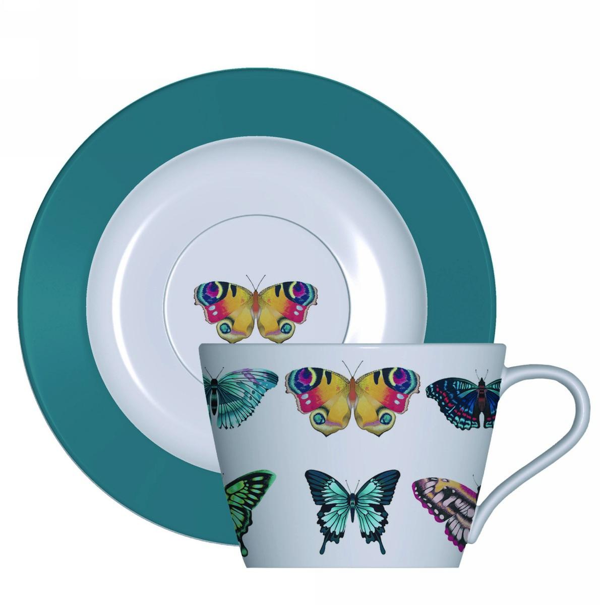 Чайный набор Churchill: чашка с блюдцем , 200 мл, цвет: оранжевый Бабочки от Арлекин