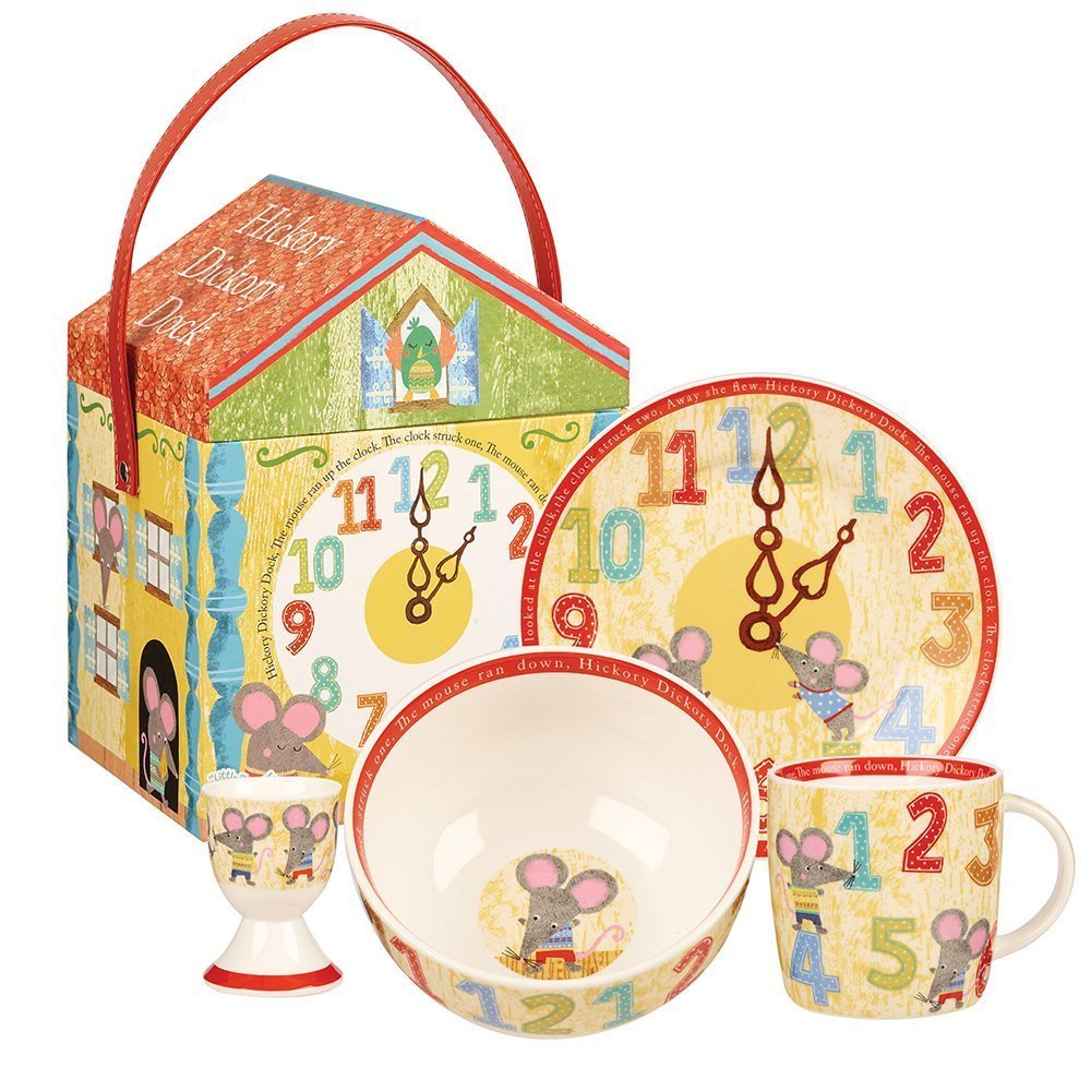 """Набор Churchill 4 предмета в коробке. Тарелка 17,5 см, миска 13 см, подставка для яйца 6,5 см, кружка 284 мл,  """"Мышки"""" от Little Rhymes"""