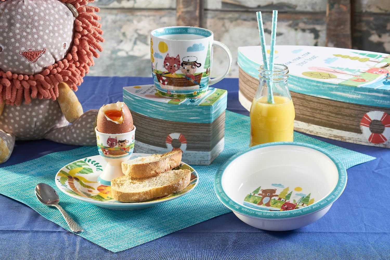 """Набор Churchill 3 предмета в коробке: тарелка 16 см, миска 16,5 см, подставка для яйца 6,5 см, """"Лодка"""" от Little Rhymes"""