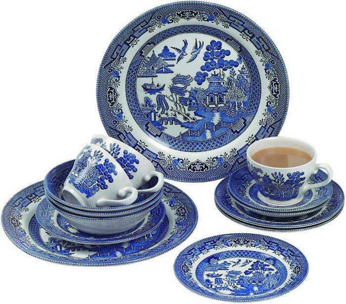 Набор столовый 20 предметов Churchill Голубая ива: 4 столовые тарелки, 4 десертные тарелки, 4 чашки с блюдцами, 4 суповые тарелки