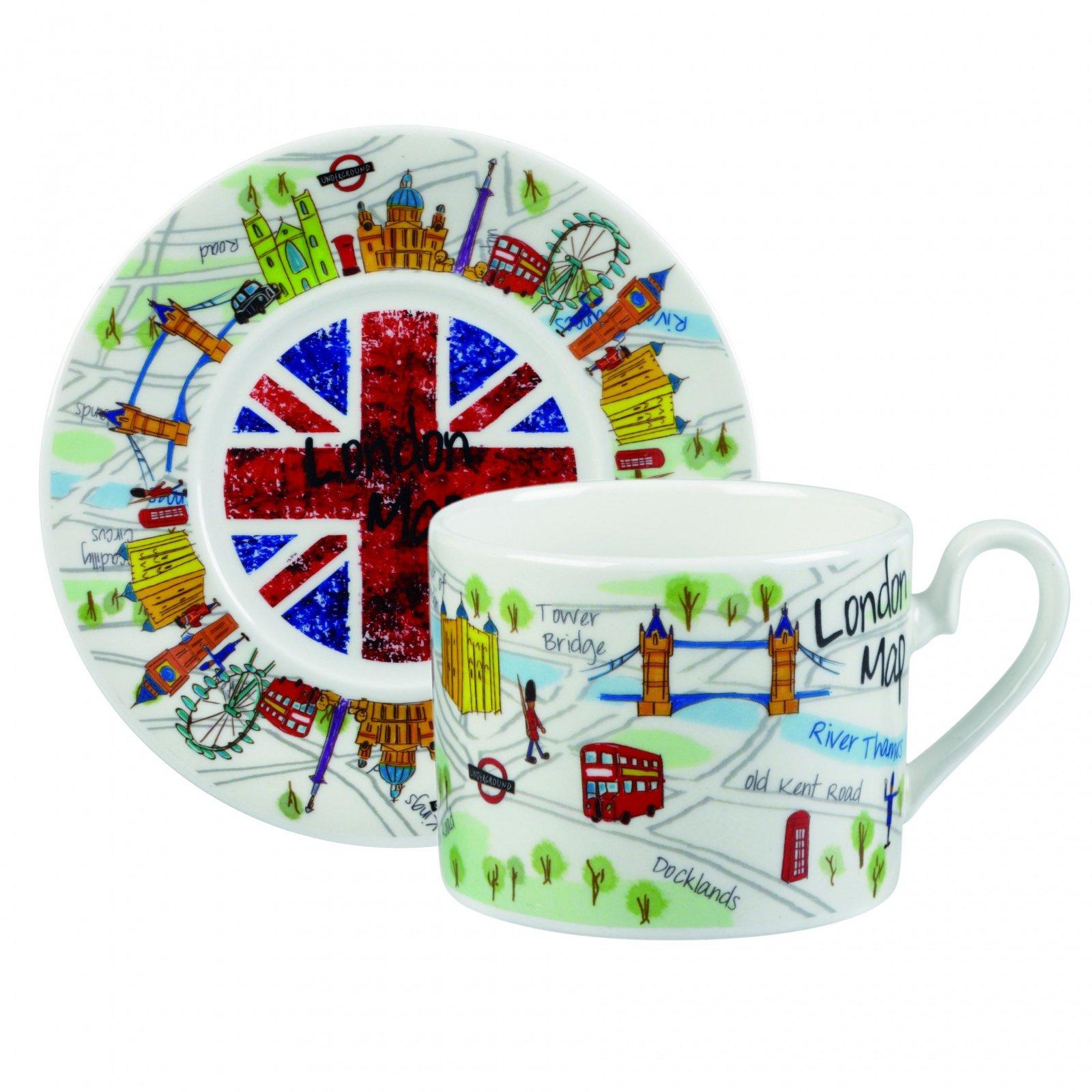 Чайный набор Churchill: чашка с блюдцем , 200 мл, Карта Лондона от Арлекин