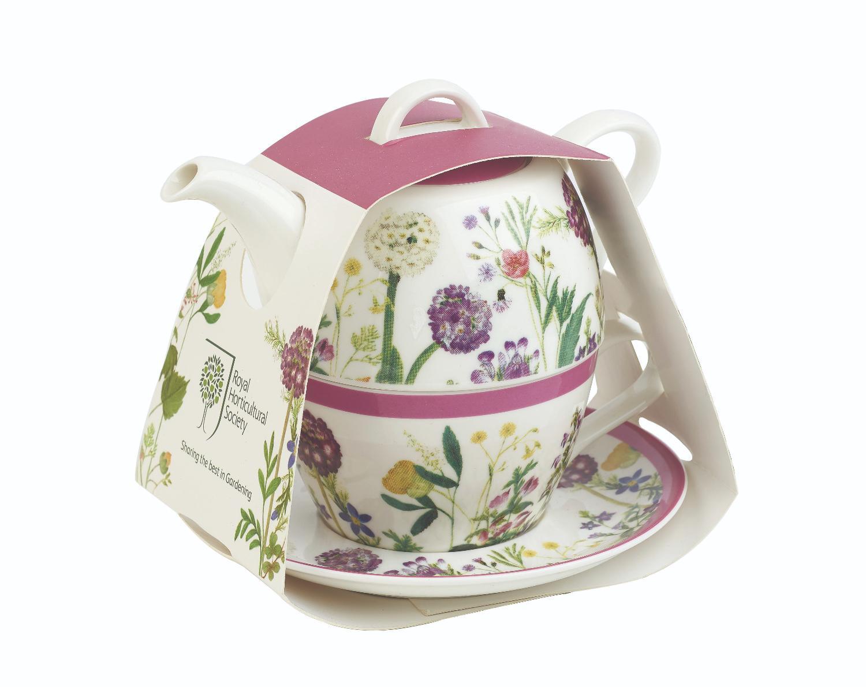 Набор: чайник 400 мл,чашка 200 мл с блюдцем Churchill Гималайские цветы (КСО)