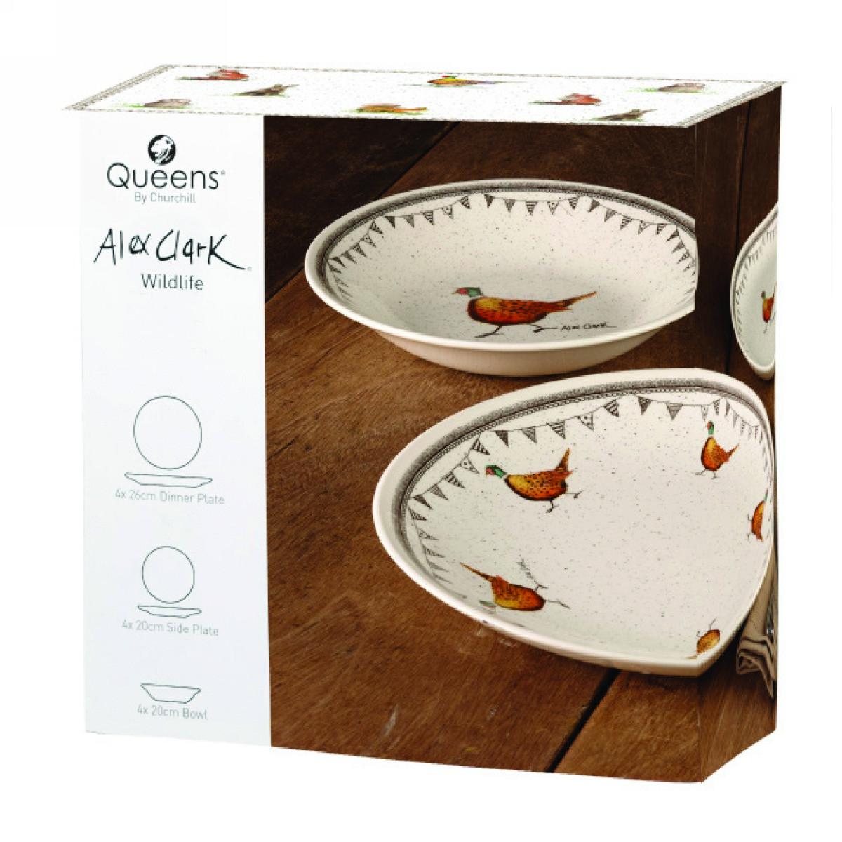 Набор Churchill 12 предметов: 4 тарелки 20см,  4 тарелки 26 см, 4 пиалы 20см Живая природа от Алекс Кларк